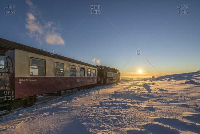Saxony-Anhalt, Germany - January 21, 2016: Harz National Park- Brocken Railway at winter evening