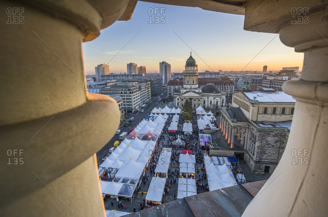 Berlin, Germany - December 30, 2016: Christmas market at Gendarmenmarkt at dusk