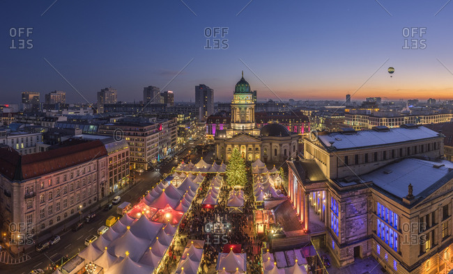 Berlin, Germany - December 30, 2016:  Christmas market at Gendarmenmarkt in the evening