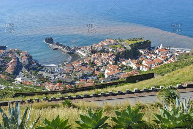 Madeira, Portugal - February 16, 2017: View of Camara de Lobos, south coast