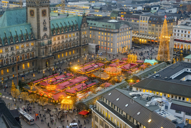 Hamburg, Germany - December 21, 2016: Christmas market at city hall in the evening