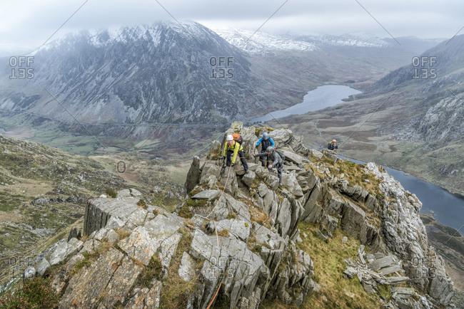 UK- North Wales- Snowdonia- Y Garn- Cwm Idwal- climbing mountaineers