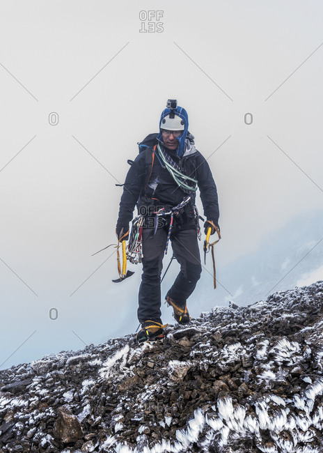 UK- Scotland- Ben Nevis- mountaineer at Number Two Gully