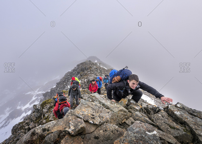 UK- Scotland- Glencoe- mountaineers at Stob Coire Nan Lochan