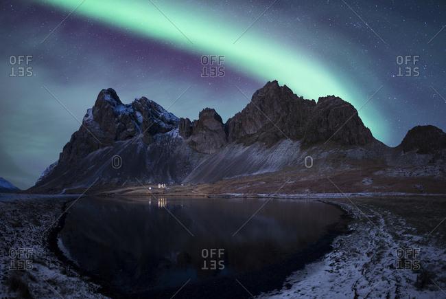 Iceland- landscape with Aurora Borealis