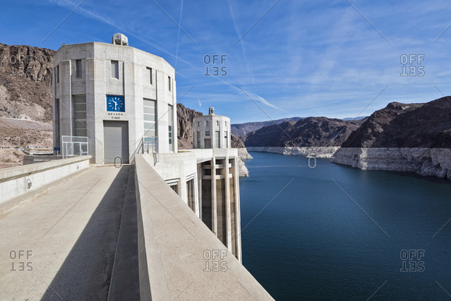 USA- Nevada- Arizona- Lake Mead- Colorado River- Hoover Dam- penstock towers