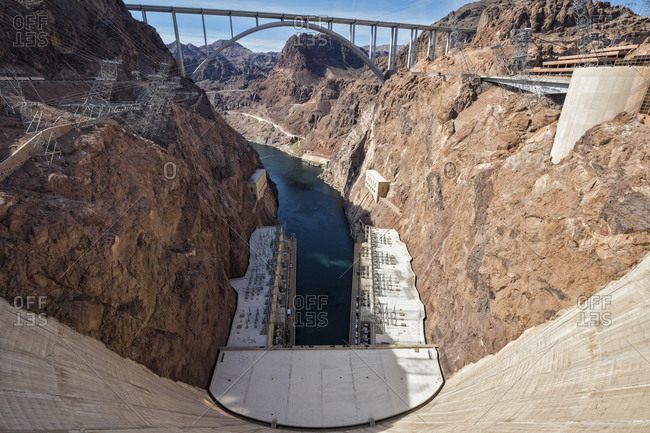 USA- Nevada- Arizona- Lake Mead- Colorado River- Hoover Dam- Mike O'Callaghan-Pat Tillman Memorial Bridge
