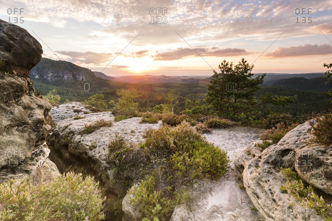 Germany- Saxony- Saxon Switzerland- Kleiner Zschand and Winterstein at twilight