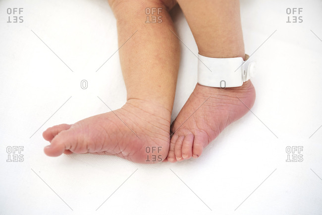 Newborn baby feet with a label in the hospital