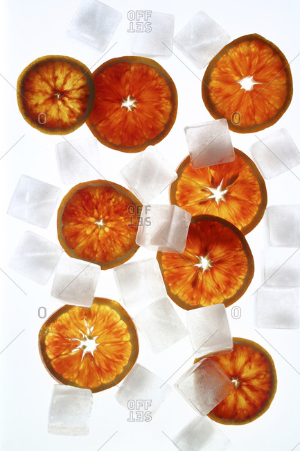 Orange slices and ice cubes