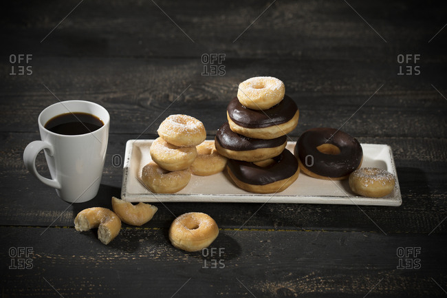 Doughnuts and mug of coffee