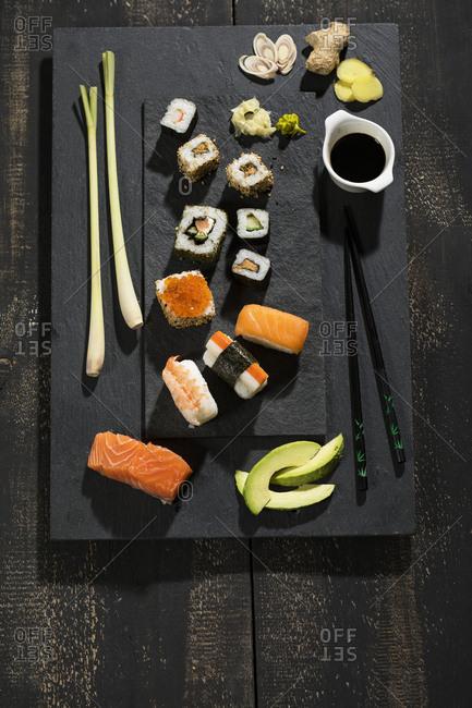 Variety of sushi
