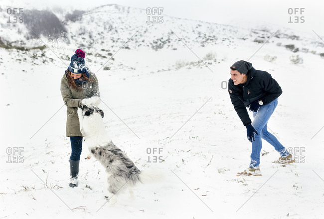 Young couple playing with their dog in the snow