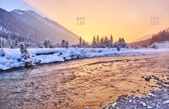 Germany- Bavaria- Vorderriss- Isar Valley in winter at sunset