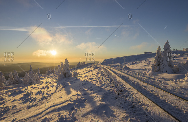 Germany- Saxony-Anhalt- Harz National Park- Brocken at winter evening