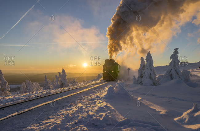 Germany- Saxony-Anhalt- Harz National Park- Brocken Railway at winter evening