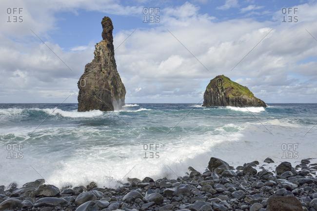 Portugal- Madeira- rock formation Ilheus da Ribeira da Janela on the north coast
