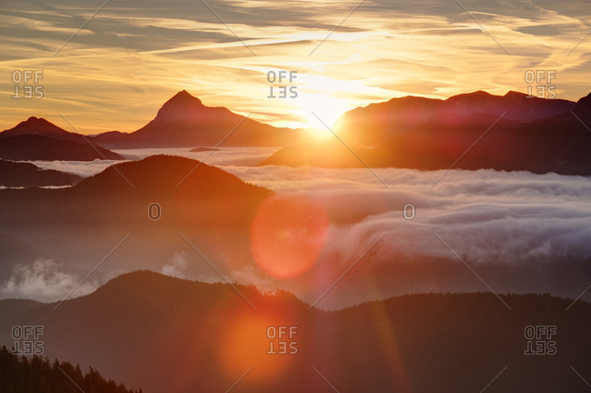 Germany- Bavaria- Jachenau- view from Hirschhoernlkopf Southeast towards Guffert at sunrise