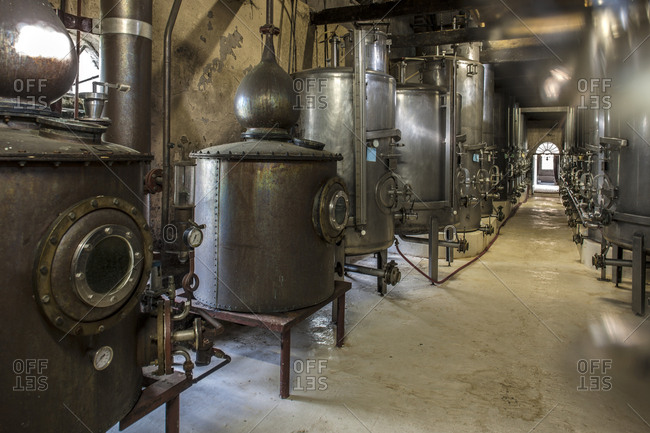 Old copper boilers in old whiskey distillery