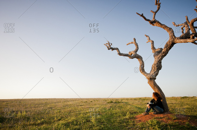 Woman under tree in remote setting