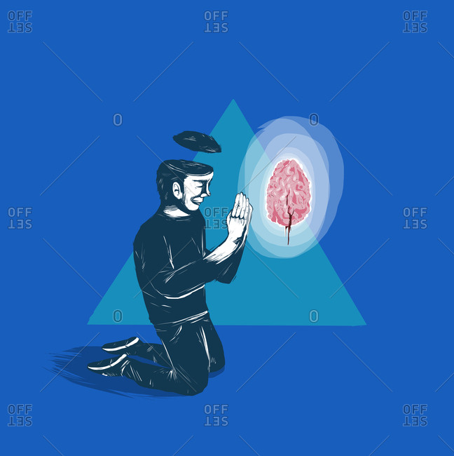 Man kneels to pray to his brain