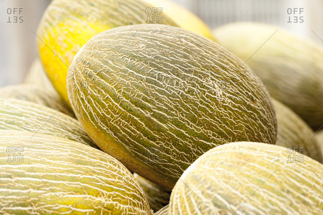 Close up of melons in stack