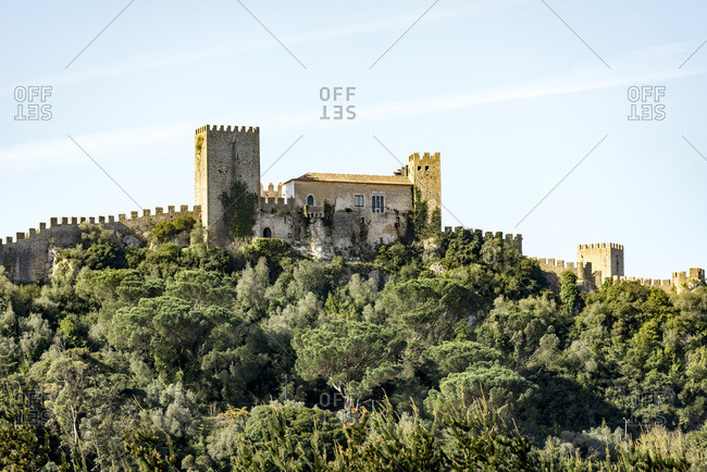 Castle on hilltop, Obidos, Portugal