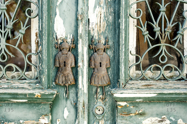 Close up of old keyholes on door, Portugal