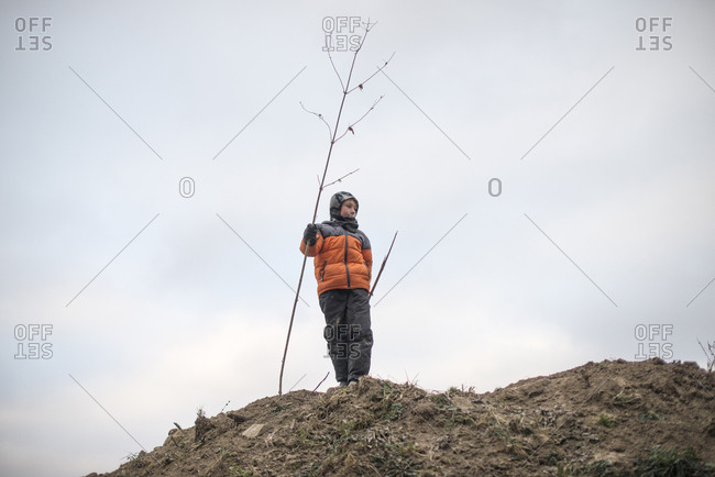 Child standing with tree branch at the top of a hill