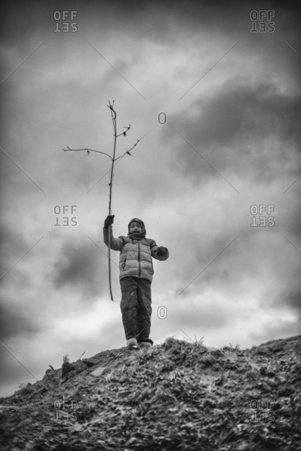 Boy at the top of a hill with tree branch in black and white