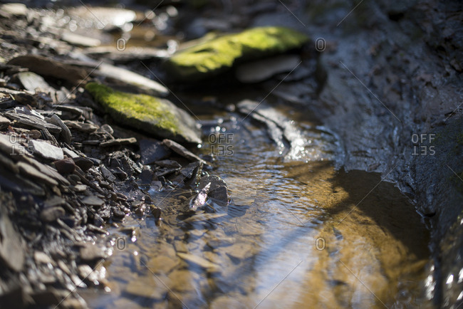 Close up of water flowing in a stream with mossy rocks