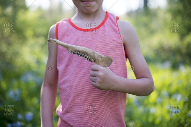 Child holding dead animal's jaw bone
