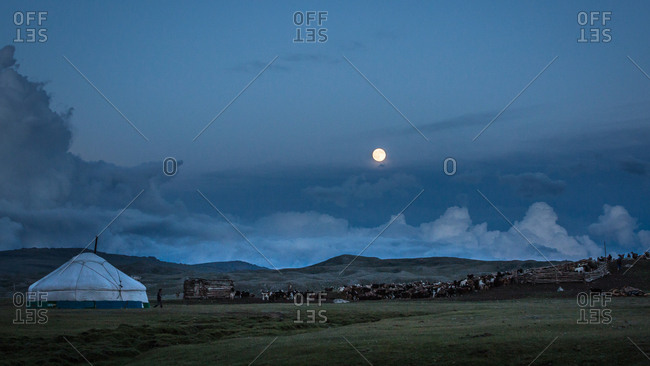 Moonrise over a ger and livestock on  a plain in the Altai Mountains, Mongolia