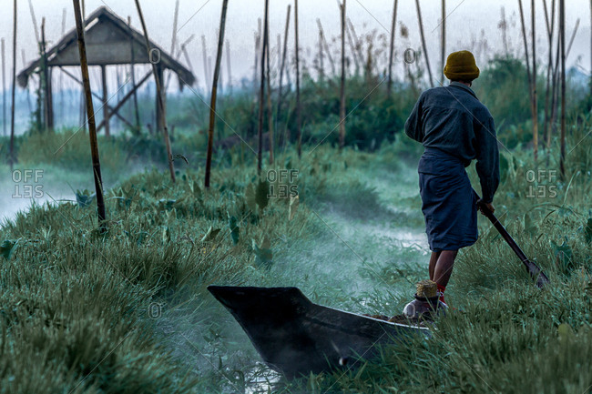 Man paddling a boat through floating garden channels at Inle Lake, Myanmar