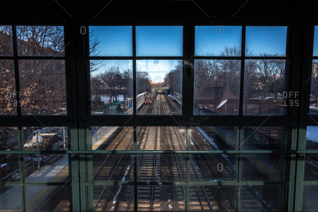 View of Metro North train tracks through glass windows in New York City