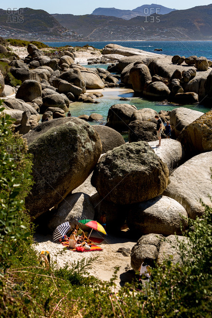 Cape Town, South Africa - March 28, 2015: People enjoying a picnic at Boulders Beach