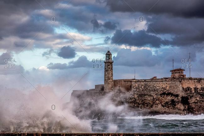 Morro Castle during storm, Havana, Cuba