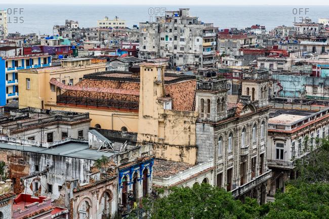 View across weathered buildings, Havana, Cuba,