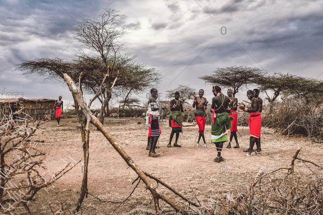 Samburuland, Kenya - September 20, 2015: Samburu warriors gathered, Laikipia, Kenya