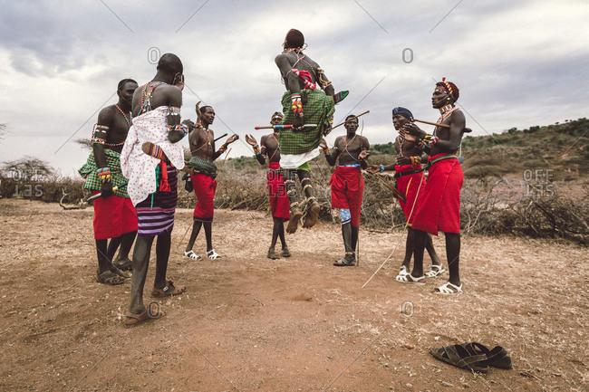 Samburuland, Kenya - September 20, 2015: Samburu warriors doing jumping dance, Kenya
