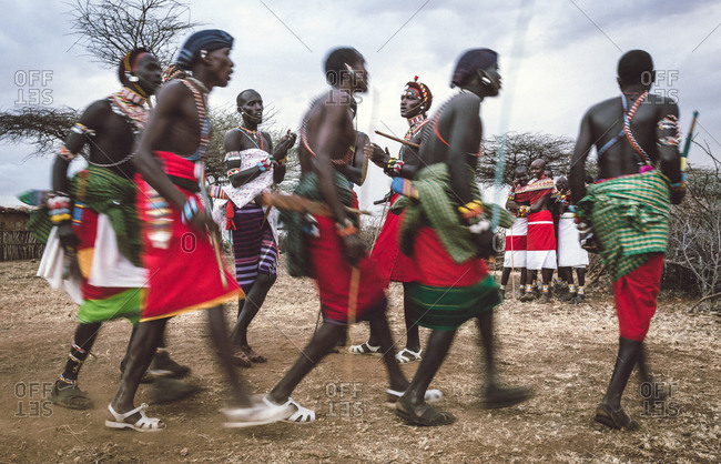 Samburuland, Kenya - September 20, 2015: Samburu warriors dancing in a circle, Kenya