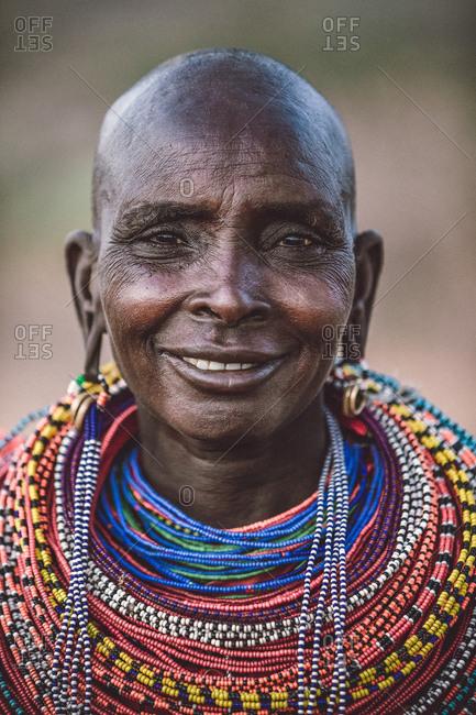 Samburuland, Kenya - September 20, 2015: Portrait of Samburu woman smiling, Kenya