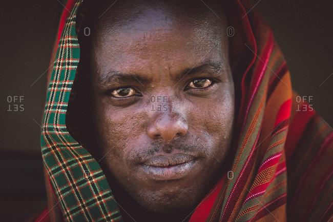 Samburuland, Kenya - September 21, 2015: Samburu man with fabric around head, Kenya