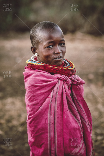 Samburuland, Kenya - September 20, 2015: Samburu woman wrapped in pink, Kenya