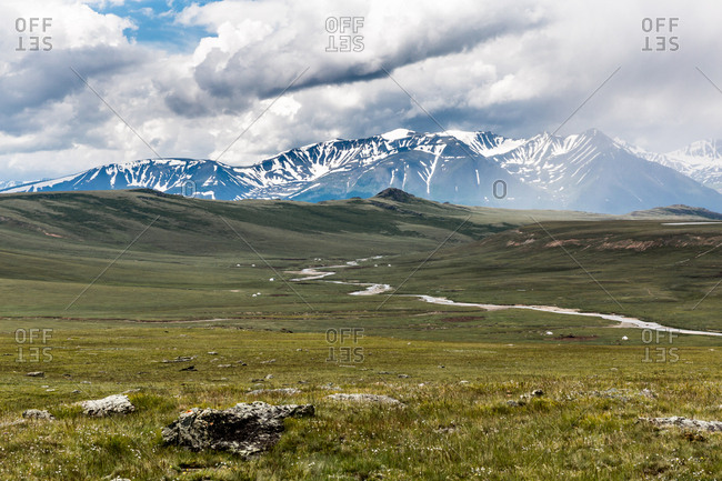 View across the valley of Altai Mountains, Mongolia