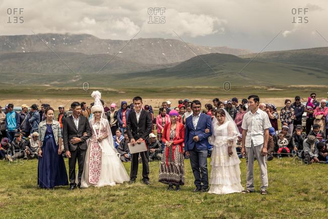 Altai Mountains, Mongolia - July 11, 2016: Kazakh wedding party in Altai Mountains, Mongolia