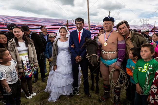 Altai Mountains, Mongolia - July 12, 2016: A wedding party in Altai Mountains, Mongolia