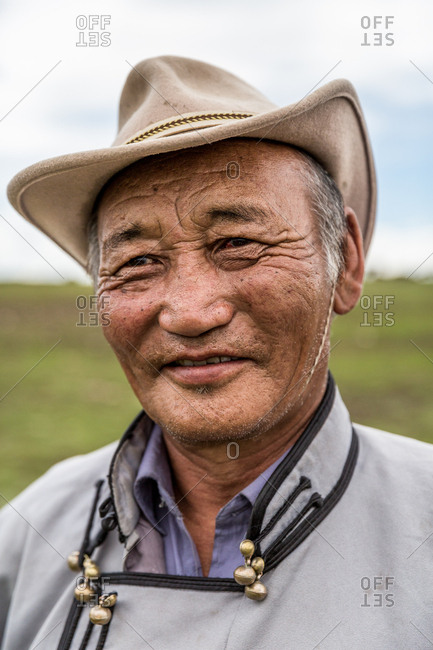 Altai Mountains, Mongolia - July 11, 2016: Portrait of a Kazakh man in Altai Mountains, Mongolia