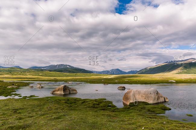 River through valley in Altai Mountains, Mongolia