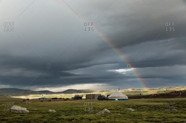 Kazakh ger under a rainbow, Altai Mountains, Mongolia